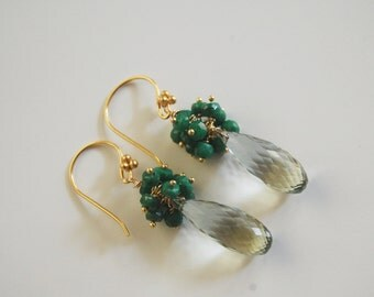 May Birthstone Jewelry- Green Amethyst and Genuine Emerald Dangle Drop Earrings- Birthstone Jewelry