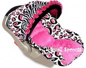 Custom Boutique Cheetah Hot Pink Black Zebra Infant Car Seat Cover 5 piece set