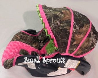 Custom Liberty Mossy Oak Camo Breakup with Hot Pink Minky & Lime Minky rosette Infant Car Seat Cover