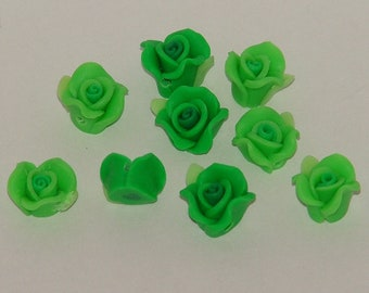 Green Polymer Clay Rose Flower Beads 10mm