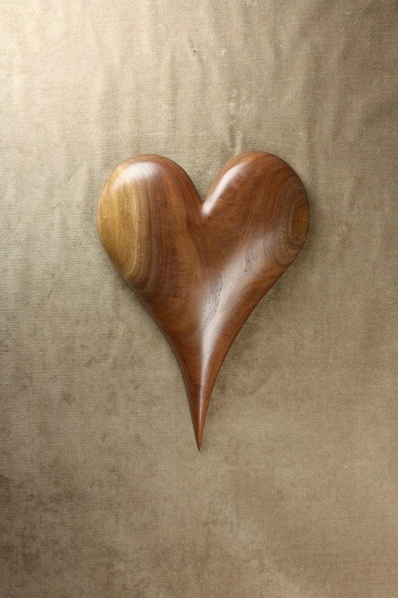 Wood Anniversary Gift Heart Personalized Wood Carving on Etsy carved by Gary Burns the Treewiz, Handmade, Woodworking