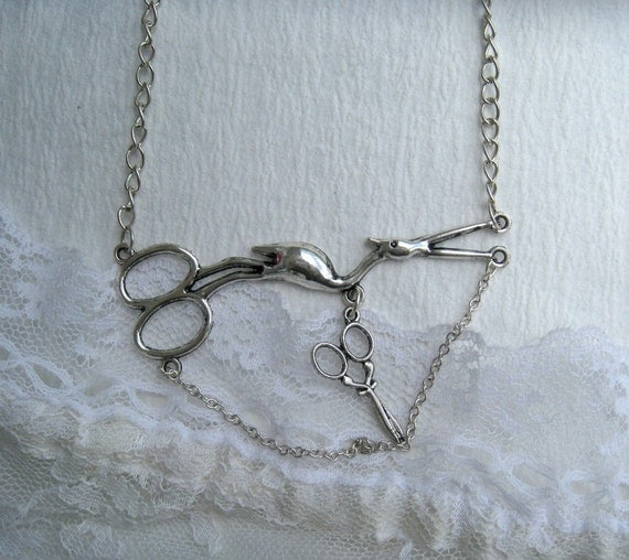 Embroidery Necklace Sewing Scissors Crane Silver