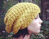 Hand Knit Hat Womens Chunky Slouch Hat - Citron Yellow - MADE TO ORDER
