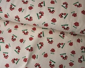 kokka Japanese fabric, Mushrooms  cream - 1/2 yard