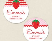 Strawberry Party - Custom stickers - Sheet of 12 or 24