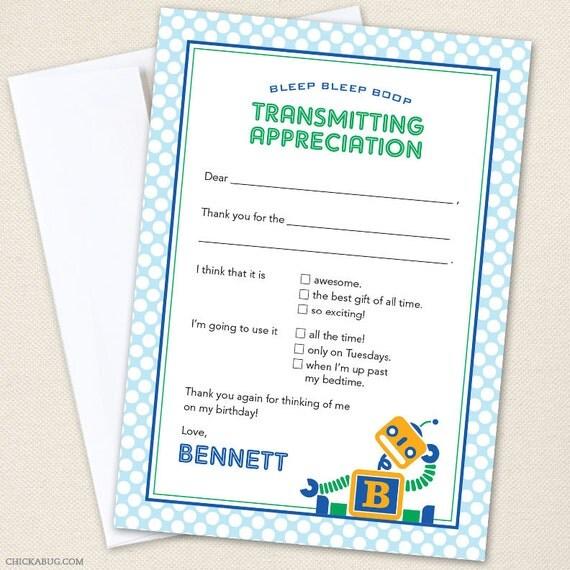 Robot Thank You Cards - Professionally printed *or* DIY printable