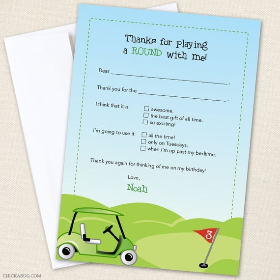 golf thank you cards professionally printed or diy printable by