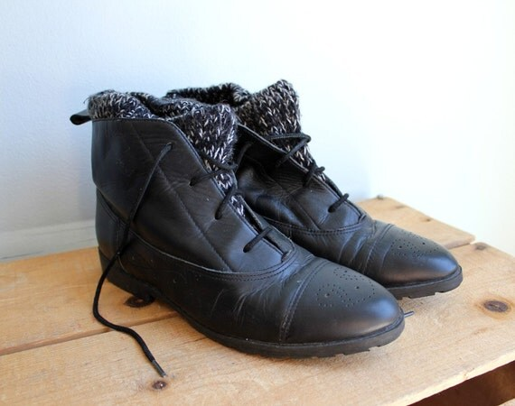 Vintage Black Leather Sweater Cuff Ankle Boots