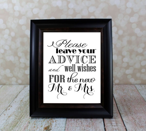 Well Wishes And Advice Table Sign. Mr. & By OurHobbyToYourHome