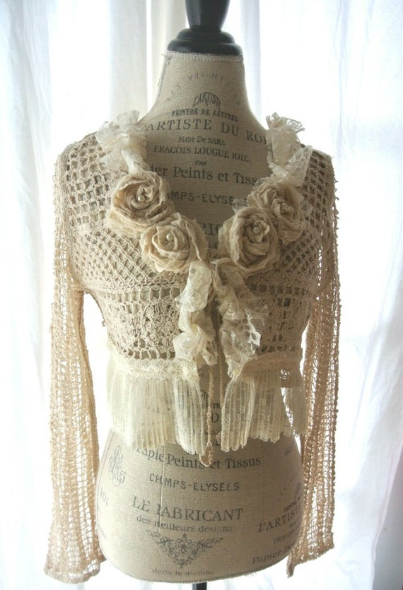 Tattered shabby shirt, off white lace shrug, victorian cardigan, womens clothing, true rebel clothing, wedding jacket
