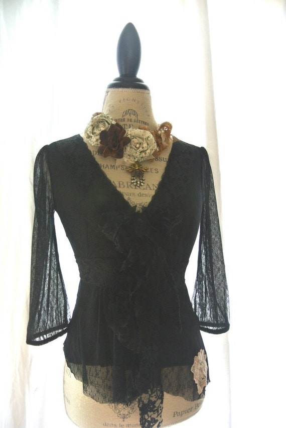 Black gypsy rose shirt, tattered lace top, womens clothing, boho, pixie sleeve, gypsy cowgirl clothing, small