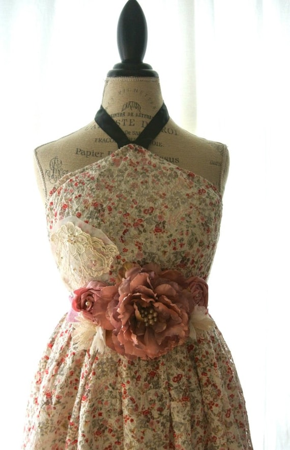 Shabby floral print sundress, cottage chic, french market dress, vintage rose, womens clothing, romantic, country chic