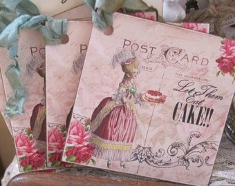 french market marie antoinette let them eat cake tags set of 4