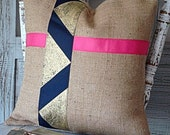 Burlap Pillow Colorblock Chevron Ribbon Pillow Cover