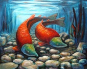 For DAD-Sockeye Salmon Painting,  Giclee Print , 8x10 from an Original,  Colorful, Turquoise blue, Cadmium Red .by Shelli Bowler