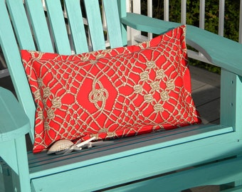 """Outdoor pillow macrame SAILOR'S PASTIME LUMBAR knotted rope tan on red retired Scalamandre print 15""""x20"""" (38x50cm)"""