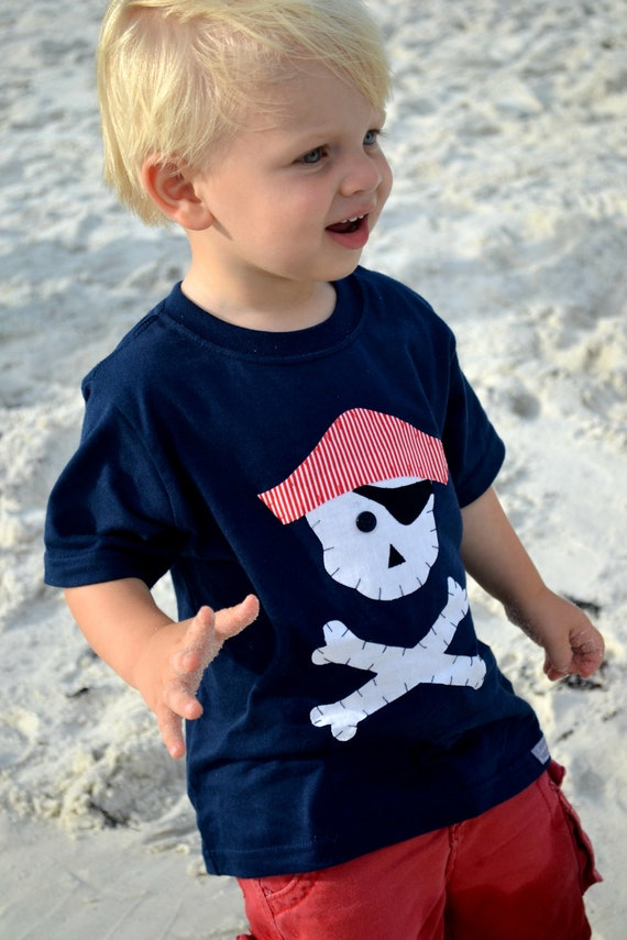 Boys Pirate Shirt in Navy Blue with Skull and Crossbones