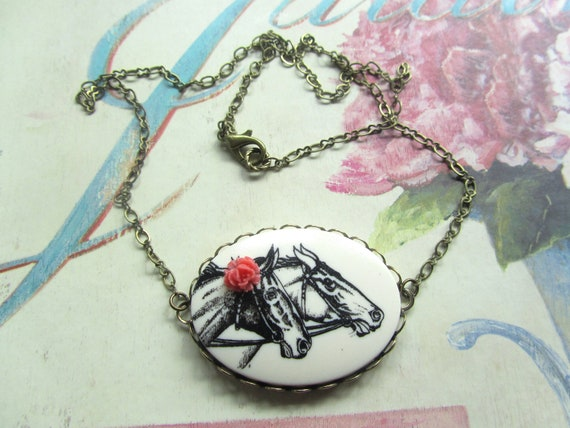 Horse Cameo Necklace with Coral Rose, Summer Fashion, Short Necklace, Statement Necklace