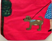whimsical dog - hand painted pink canvas tote bag