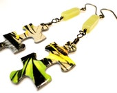Yellow and Green Puzzle and Jade Holiday Earrings - Sale - Was 14.00 - Now 12.00