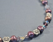 Bridesmaid - Sugar Plum Freshwater Pearl and Swarovski Crystal Necklace and Earring Set - Available in Purple, Pink, Green, Silver, Black