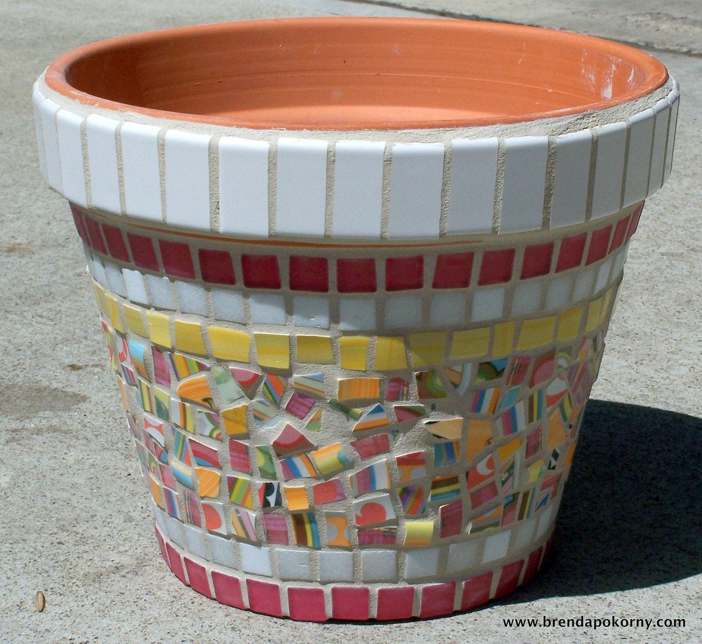 Lantana Mosaic Flower Pot Planter Moo7016