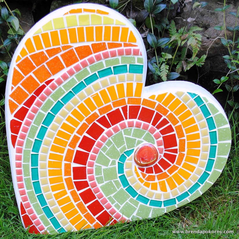 Mosaic Garden Stones: Tropicana Heart Large Mosaic Stepping Stone MOO5025
