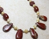Marooned - Fan Necklace in Red Flame Jasper, Red Agate and Calcite with Antiqued Silver