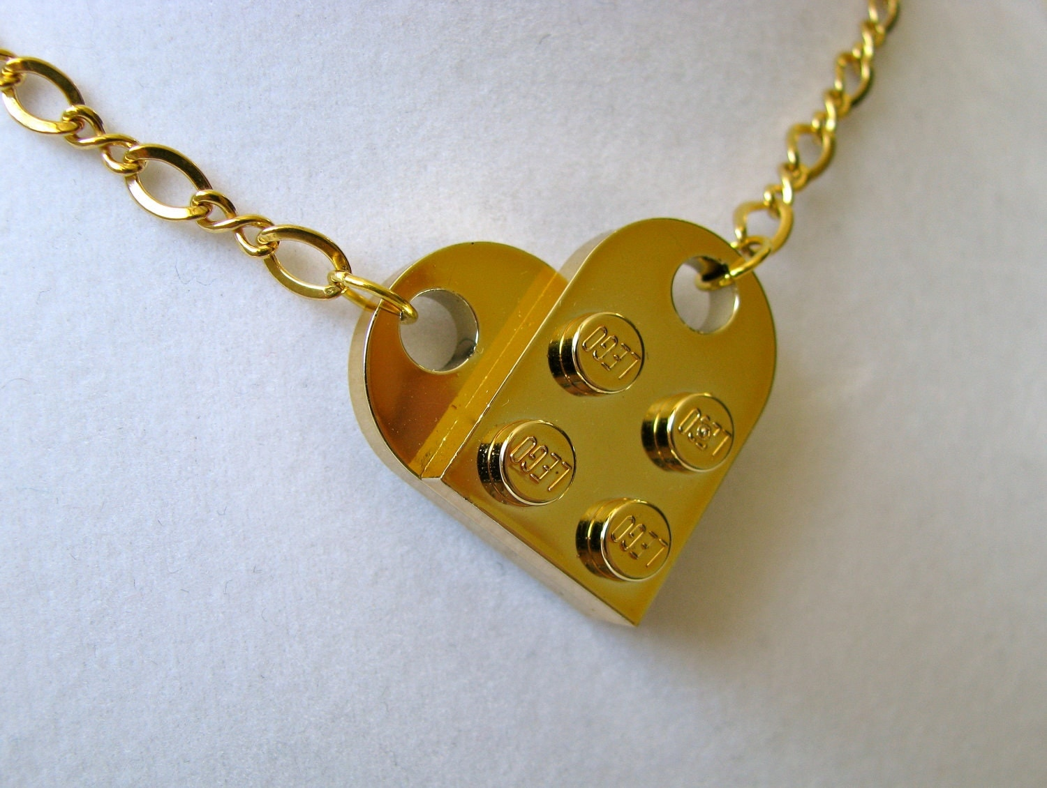 gold chrome lego necklace by cutebricks on etsy