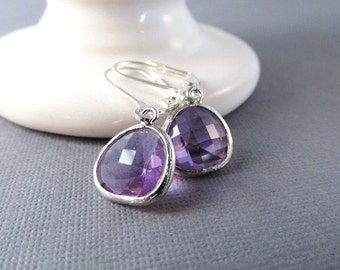 Bridesmaid Earrings, Silver Dangle Earrings, Bridesmaid Gift, Wedding Jewelry, Birthstone Earrings, You Choose Color, Birthstone Jewelry
