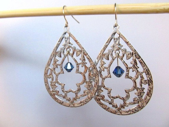 Silver Birthstone Earrings, Statement Earrings, Silver Filigree with Swarovski Crystal, Dangle Earrings, Large Earrings, Boho Earrings