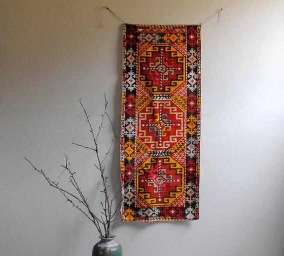 Vintage Uzbek Hand Hooked Runner Textile