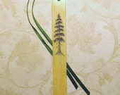 SCRIMSHAW Bookmark on Recycled Ivory Key - Old Adirondack Tree- ORIGINAL Art - OOAK