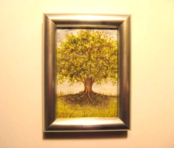 Miniature Watercolor PAINTING - ORIGINAL - 'Grand Old Tree' - Framed ACEO - Nature