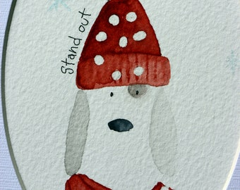 Stand Out - white dog original watercolor, with orange polka dot hat and scarf, inspirational, simple, whimsical