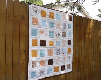 Baby Girl Crib Quilt. Dandelion Fields  Hand Quilted handmade woodland colors OOAK ready to ship