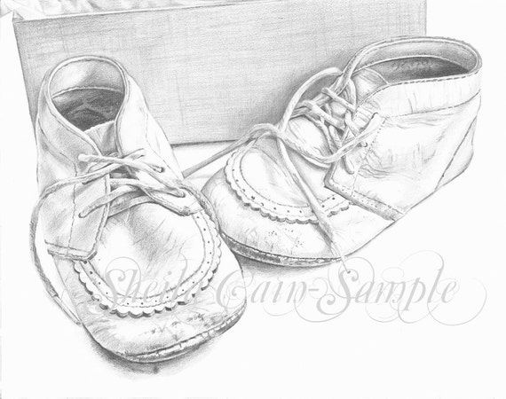 Baby Shoes 1955 - 4x6 (10cm x 15cm) print of orginal graphite drawing