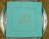4 Monogrammed Cocktail Napkins in the Dapper Square Font