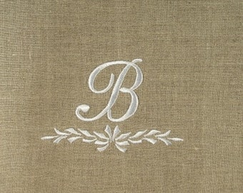 Two Monogrammed Natural Linen  Guest Towels