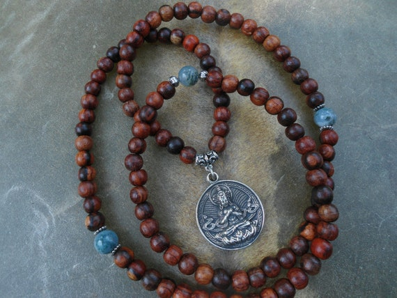 Unisex 108 Rosewood Prayer Bead Mala Necklace or Bracelet with Buddha Pendant and Moss Agate Beads
