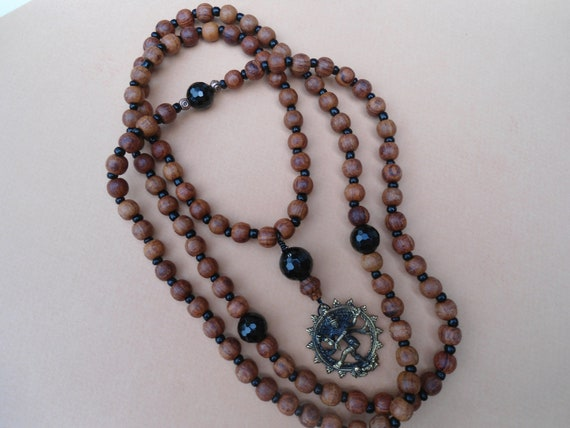 Mala Necklace  Rosewood Black Onyx Dancing Nataraja Japa Mala Prayer Beads Yoga Jewelry Yoga Necklace Hindu God Meditation Necklace