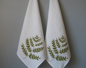 Linen Napkins , Organic Cloth Napkins, Screen Printed with Ferns , Set of Two Seconds ,  Sale , Cloth Napkins