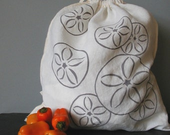 Produce Bag - Organic Linen Drawstring Bag - Screen Printed - Sand Dollar Design - Gift Bag