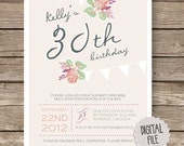 Personalised Birthday Party Invitation - Tea Party Rose bunting pink peach