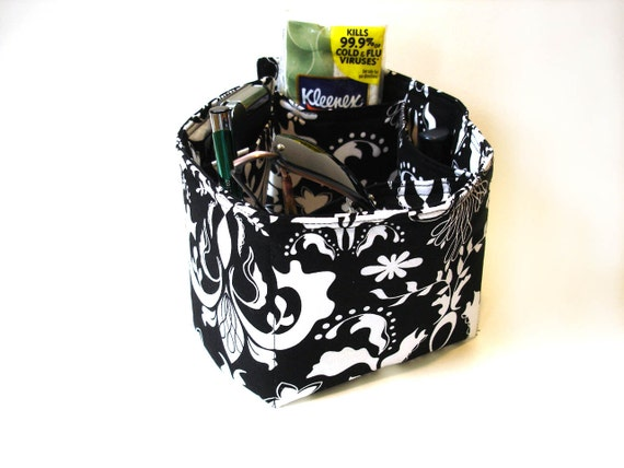 Purse organizer bag insert black white floral modern pockets women tote