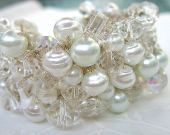 Chunky PURE White Pearl Crystal Wedding Bracelet, Statement Cuff, Classic Elegance,  Hand Knit Sereba Designs