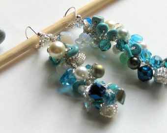 Cascading Long Dangle Cluster Earrings, Blue Green, Marine, Beach Wedding, MERMAID SEA, Hand Knit Fiber Art, Semi Precious Stones, Crystals