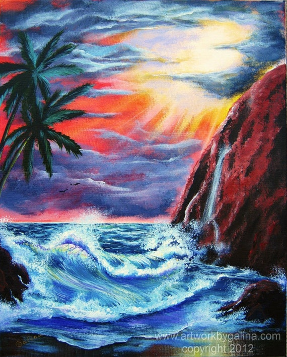 OCEAN TWILIGHT - Original Tropical Abstract Painting on Stretched Canvas - beautiful - by Galina