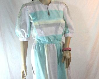 1970's Striped Cotton DRESS M L