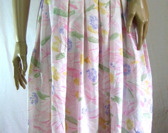1960's HANDMADE PLEATED SKIRT size M L pastel pink floral